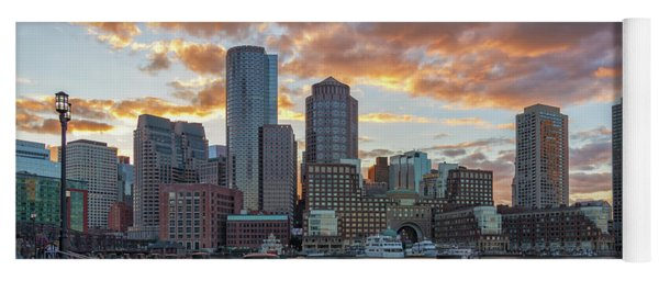 Summer Sunset At Boston's Fan Pier Yoga Mat