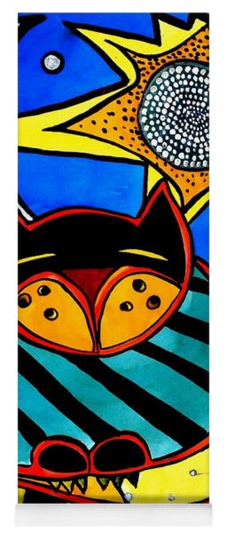 Sun And Moon - Honourable Cat - Art By Dora Hathazi Mendes Yoga Mat