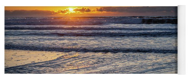 Sun Behind Clouds With Beach And Waves In The Foreground Yoga Mat