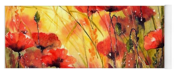 Sun Kissed Poppies Yoga Mat