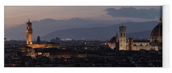 Sun Setting In Florence Italy  Yoga Mat