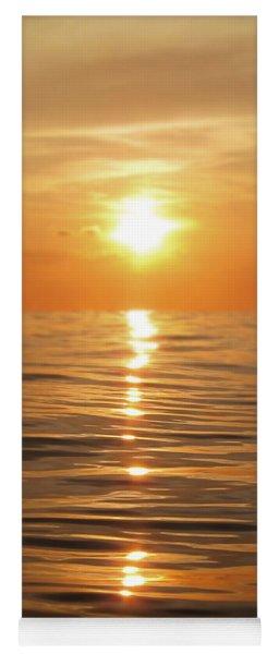Sun Setting Over Calm Waters Yoga Mat
