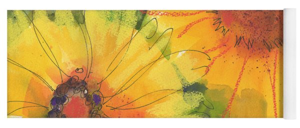 Big Sunflowers Watercolor And Pastel Painting Sf018 By Kmcelwaine Yoga Mat