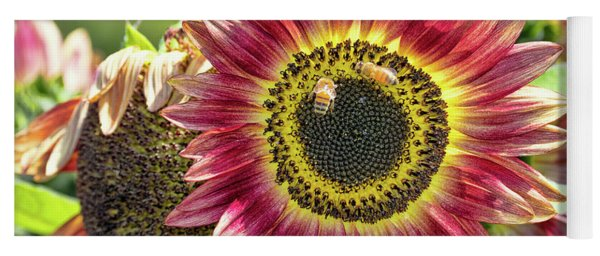 Sunflower And Bees Yoga Mat
