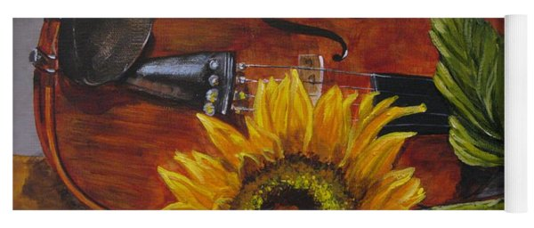 Sunflower And Violin Yoga Mat