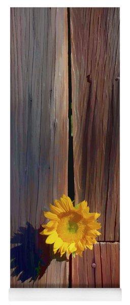 Sunflower In Barn Wood Yoga Mat
