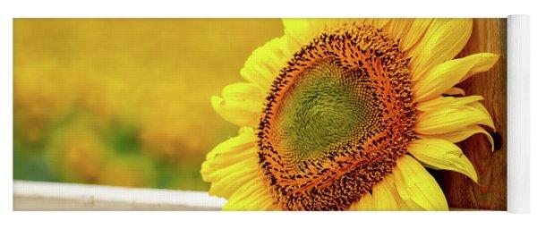 Sunflower On The Fence Yoga Mat