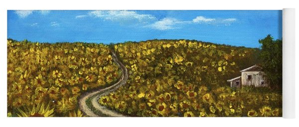 Yoga Mat featuring the painting Sunflower Road by Anastasiya Malakhova