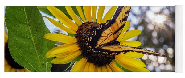 Sunflower Swallowtail Yoga Mat