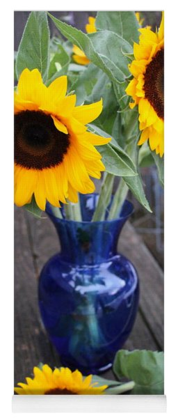 Sunflowers And Blue Vase - Still Life Yoga Mat