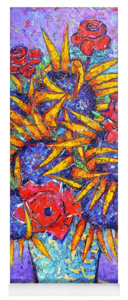 Sunflowers And Red Roses Modern Impressionist Impasto Palette Knife Oil Painting Ana Maria Edulescu  Yoga Mat