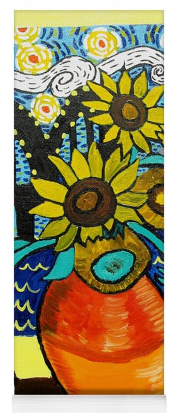 Sunflowers And Starry Memphis Nights Yoga Mat