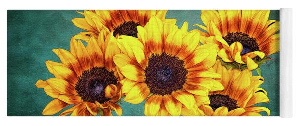 Sunflowers And Texture Yoga Mat