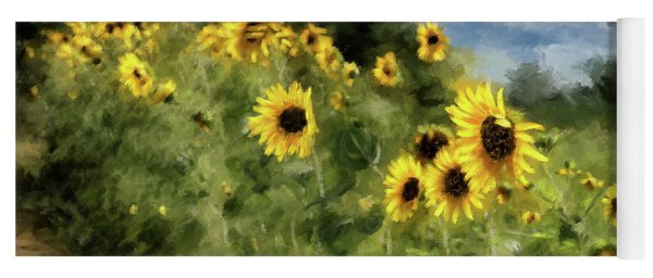 Sunflowers Bowing And Waving Yoga Mat