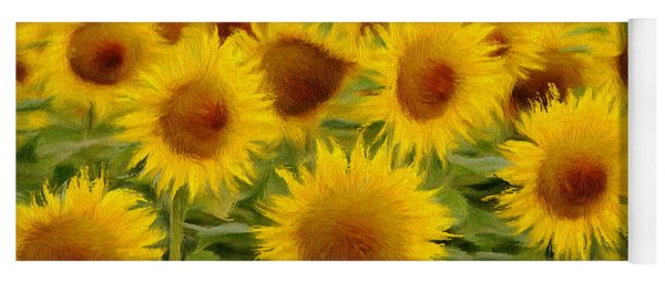 Sunflowers In The Field Yoga Mat