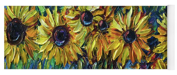 Sunflowers In A Vase Palette Knife Painting Yoga Mat