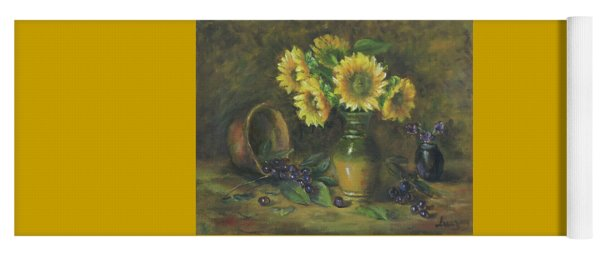 Yoga Mat featuring the painting Sunflowers by Katalin Luczay