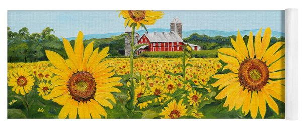 Yoga Mat featuring the painting Sunflowers On Route 45 - Pennsylvania- Autumn Glow by Jan Dappen