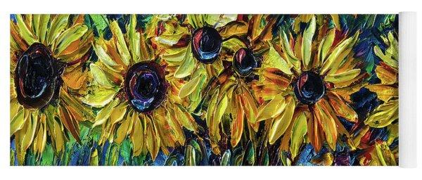 Sunflowers  Palette Knife Yoga Mat