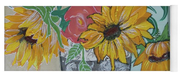 Yoga Mat featuring the painting Sunflowers Three by Robin Maria Pedrero