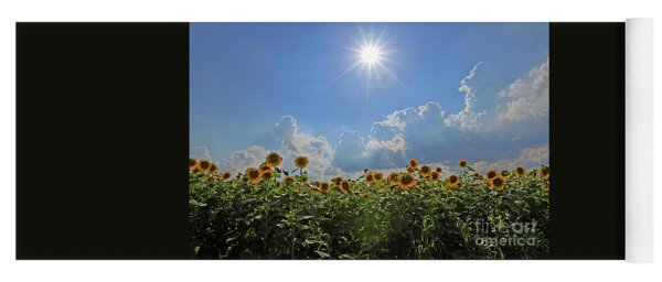 Sunflowers With Sun And Clouds 1 Yoga Mat