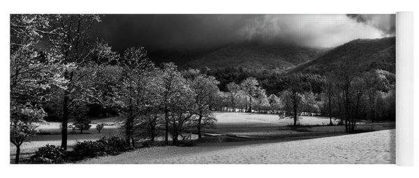 Sunlight Clouds And Snow In Black And White Yoga Mat