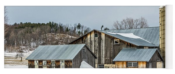 Sunlit Barns And Silos In Winter Yoga Mat