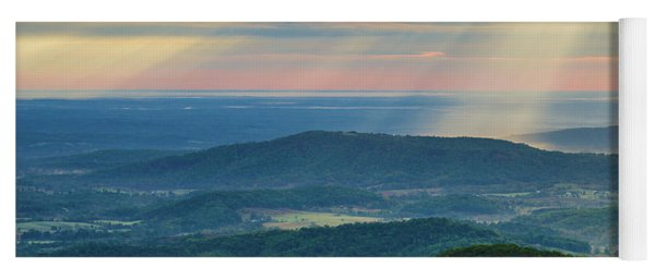 Yoga Mat featuring the photograph Sunrays Over The Blue Ridge Mountains by Lori Coleman
