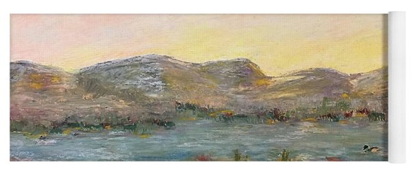 Yoga Mat featuring the painting Sunrise At The Pond by Norma Duch