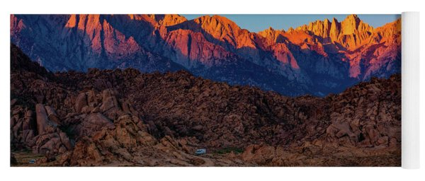 Sunrise Illuminating The Sierra Yoga Mat