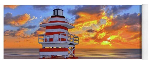Sunrise Over Lifegaurd Stand On South Miami Beach  Yoga Mat