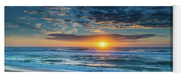 Sunrise Seascape With Footprints In The Sand Yoga Mat