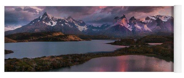 Sunrise Spectacular At Torres Del Paine. Yoga Mat