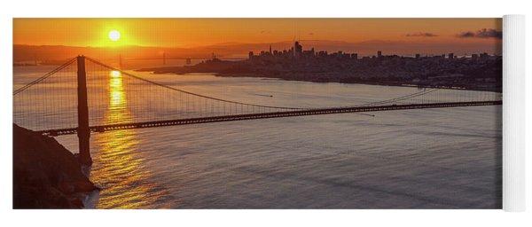 Sunrise Sunlight Hitting The Coastal Rock On The Shore Of The Go Yoga Mat