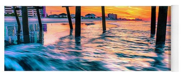 Sunrise Under Cherry Grove Pier Yoga Mat