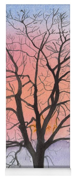 Sunrise Walnut Tree 2 Watercolor Painting Yoga Mat
