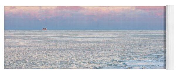 Sunset Across The Frozen Lake Yoga Mat