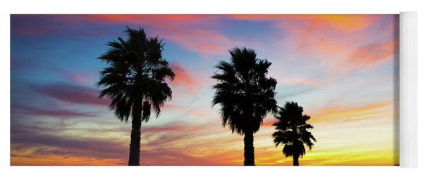 Sunset And Palms Yoga Mat
