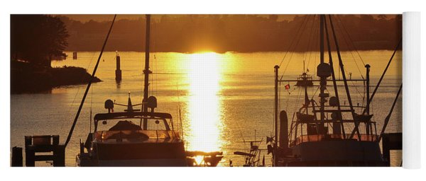 Sunset And The Boats Yoga Mat