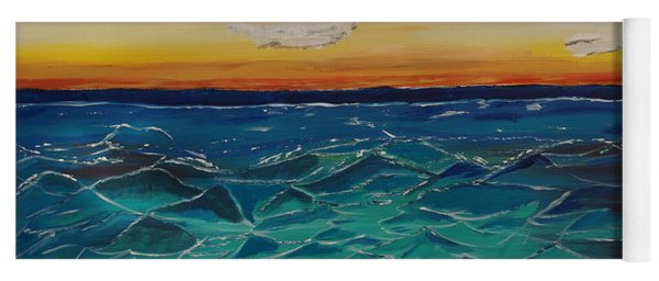 Yoga Mat featuring the painting Sunset And Waves by Jimmy Clark