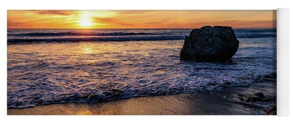 Sunset At San Simeon Beach Yoga Mat