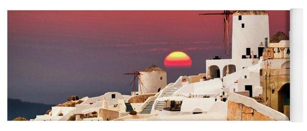 sunset at Santorini Yoga Mat