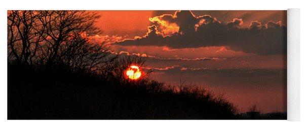 Sunset Behind A Knoll Yoga Mat