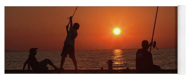 Sunset Fishermenr Yoga Mat
