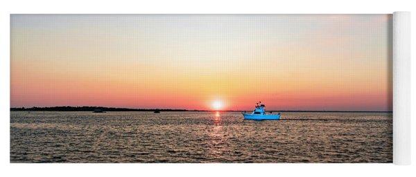 Sunset Fishing Boat Off Dewey Destin Fl Pier 1208a Yoga Mat