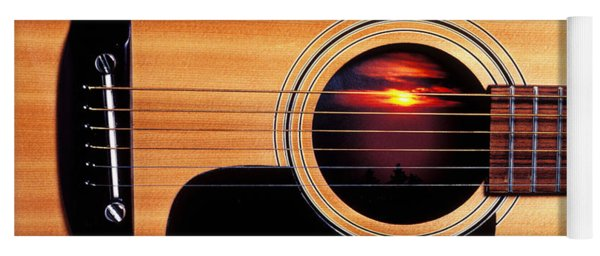 Sunset In Guitar Yoga Mat