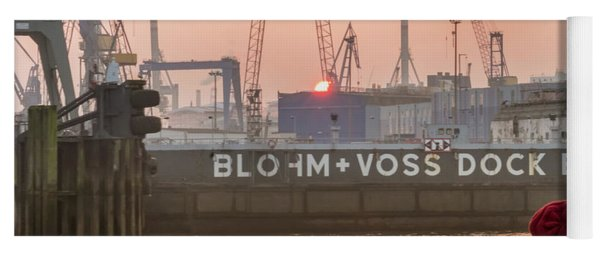 Sunset In Hamburg Port Germany Yoga Mat