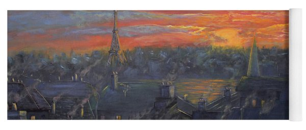 Sunset In Paris Painting Yoga Mat