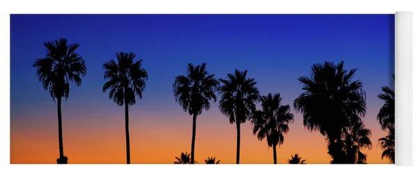 Sunset, Moon, Venus, At La Jolla Shores Yoga Mat