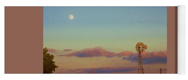 Sunset Moonrise With Windmill  Yoga Mat